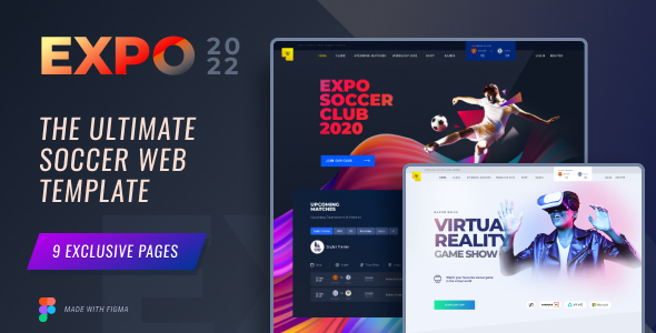 Expo2022  Exclusive Soccer Sports Portal Figma Web Template TFx