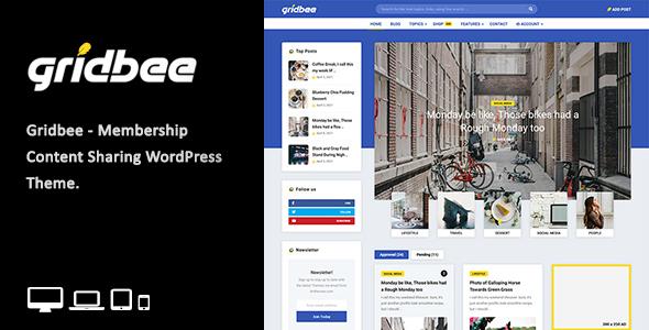 Gridbee - Content Sharing WordPress Theme TFx