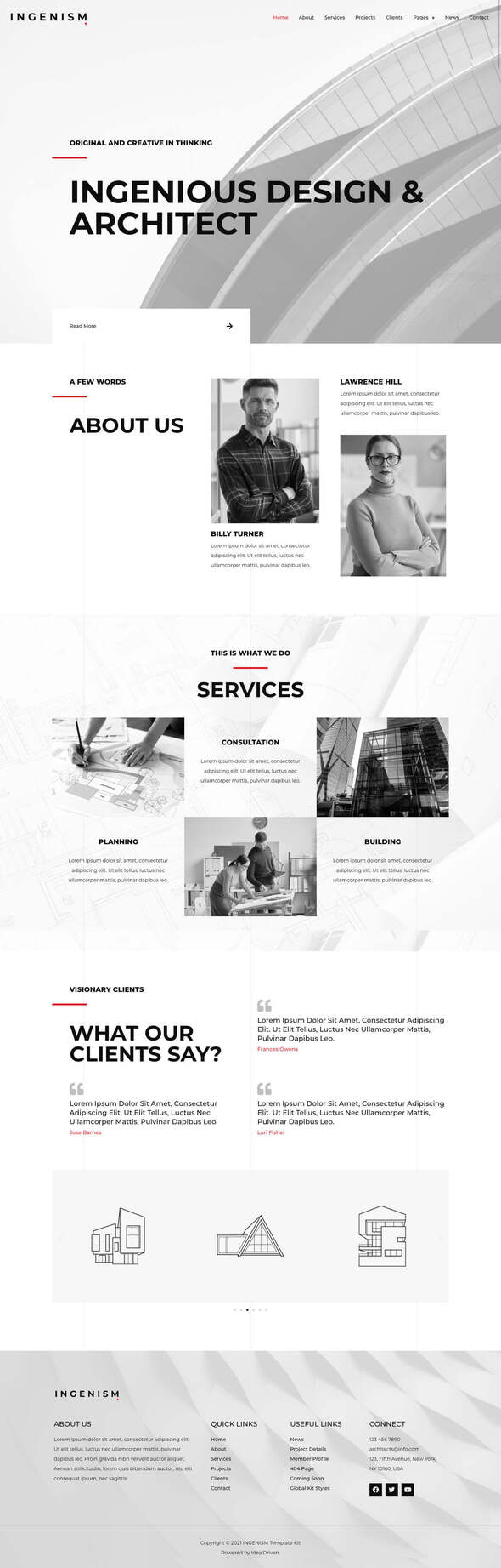 INGENISM – Architectural Design Agency Elementor Template Kit TFx
