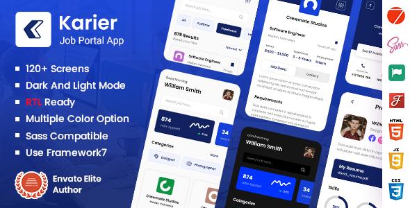 Karier - Job Portal Mobile App Framework7 PWA Template TFx