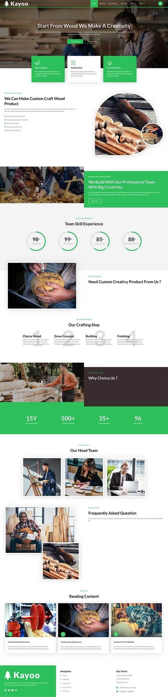 Kayoo - Wood Company Woocommerce Elementor Template Kit TFx