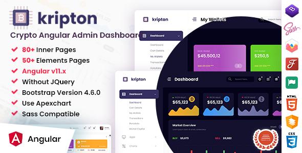 Kripton - Crypto Admin Angular Dashboard Template TFx