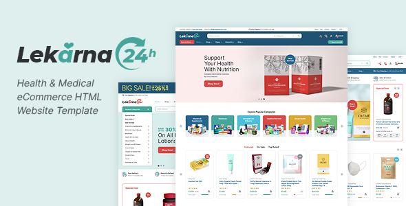 Lekarna24 - Health amp Medical eCommerce HTML Website Template TFx