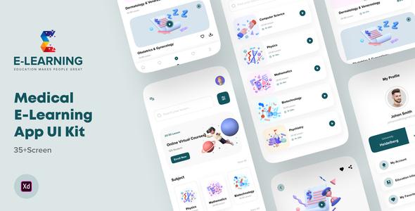 Medical e-Learning Online Course App UI kit For Adobe XD TFx