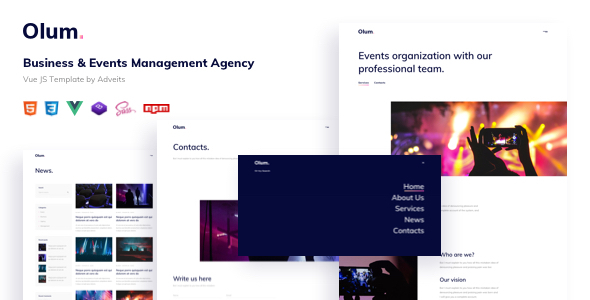 Olum – Business amp Events Management Agency Vue JS Template TFx