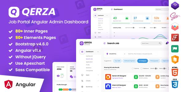 Qerza - Job Portal Admin Dashboard Angular Template TFx