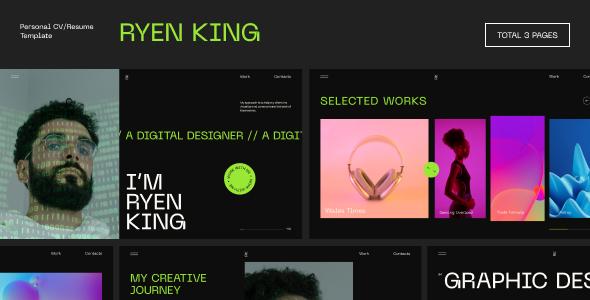 Ryen King - Personal CVResume Figma Template TFx