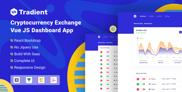 Tradient - Cryptocurrency Exchange Vue App TFx