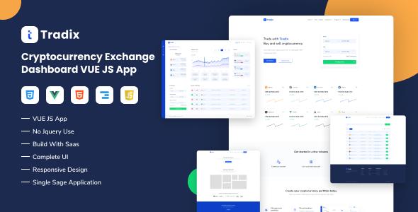 Tradix - Cryptocurrency Exchange Vuejs App TFx