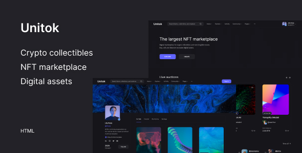 Unitok  NFT Marketplace HTML Template TFx
