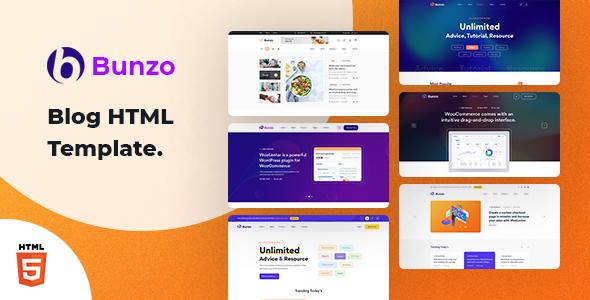 Bunzo - Blog Bootstrap 5 HTML Template TFx