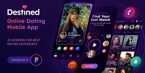 Destined  A Dating App UI Figma Template TFx