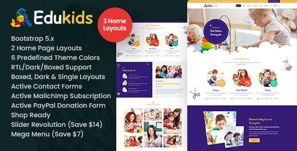 Edukids - Children Kidergarten HTML Template TFx