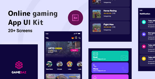Gamebaz - Online Gaming App UI Kit TFx