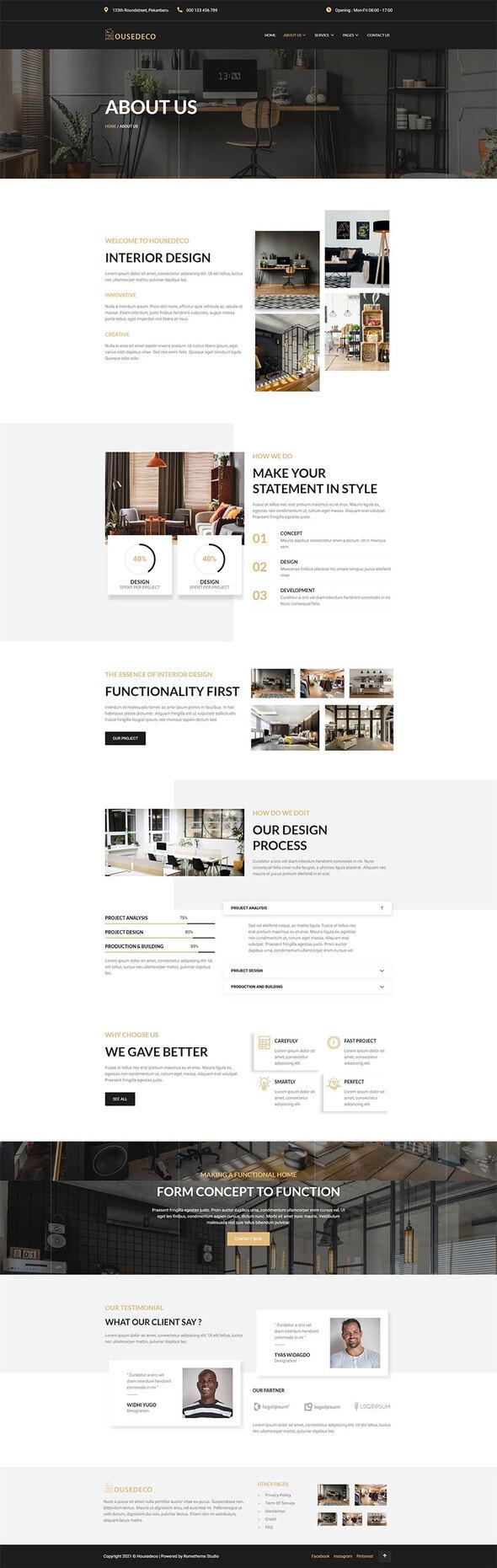Housedeco - Interior Design Elementor Template Kit TFx