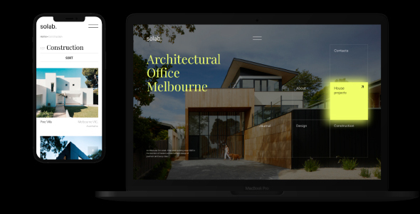 Solab  Minimalistic Template for Architectural Agency TFx