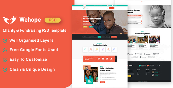 Wehope - Charity amp Fundraising PSD Template TFx