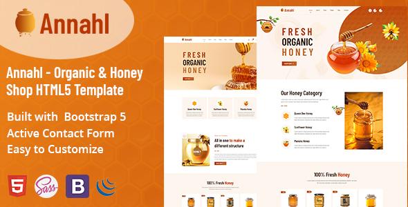 Annahl - Organic amp Honey Shop HTML5 Template TFx