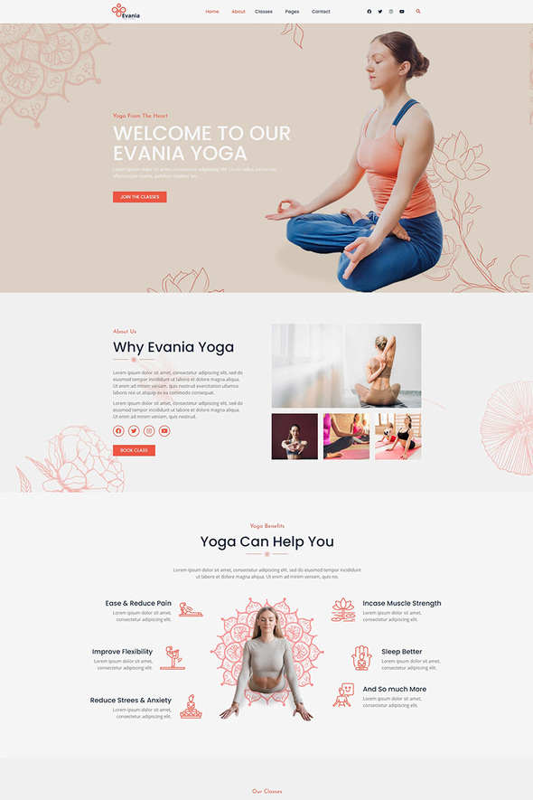 Evania - Yoga Studio Elementor Template Kit TFx
