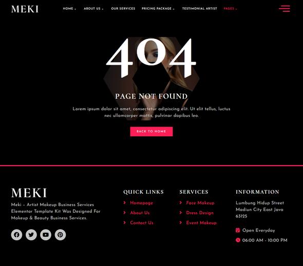 Meki - Artist Makeup Business Services Elementor Template Kit TFx