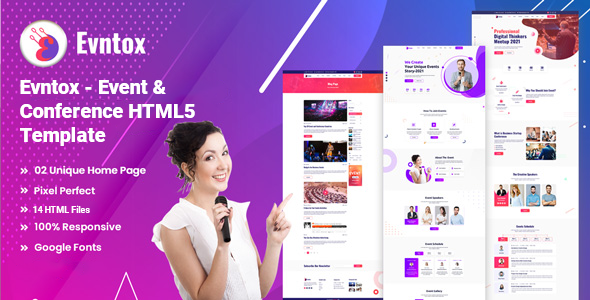 Evntox - Event amp Conference HTML5 Template TFx