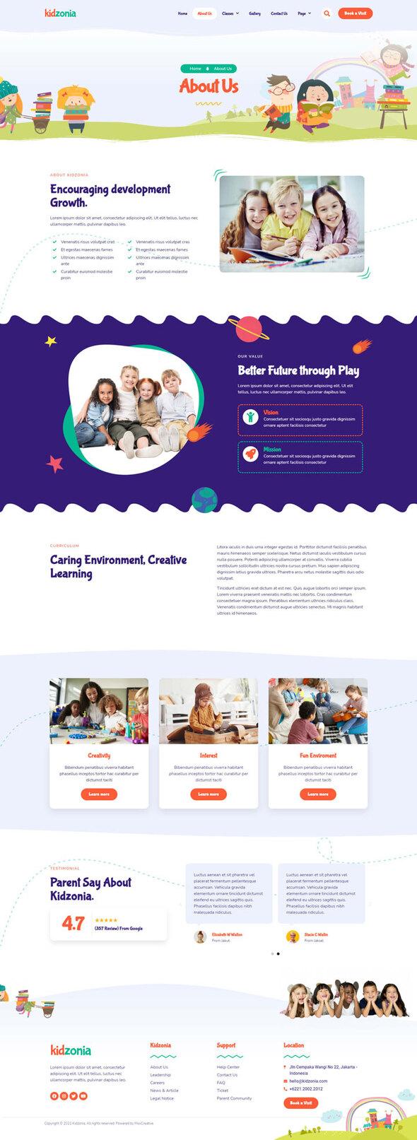 Kidzonia - Kindergarten amp Child Care Elementor Template Kit TFx