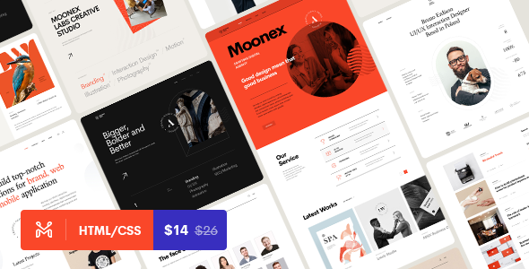 Moonex - Portfolio amp Agency HTML Template TFx