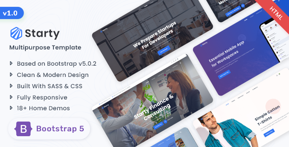 Starty - Bootstrap 5 Multipurpose Template TFx
