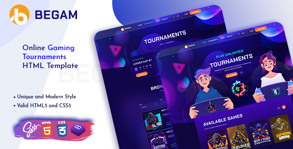 Begam - Online Gaming Tournaments HTML Template TFx