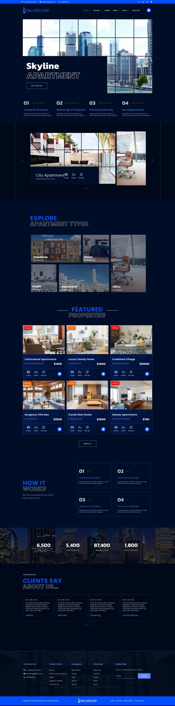 Bluechip - Apartment amp Property Elementor Template Kit TFx