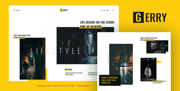 Gerry - Blog and Magazine HTML Template TFx